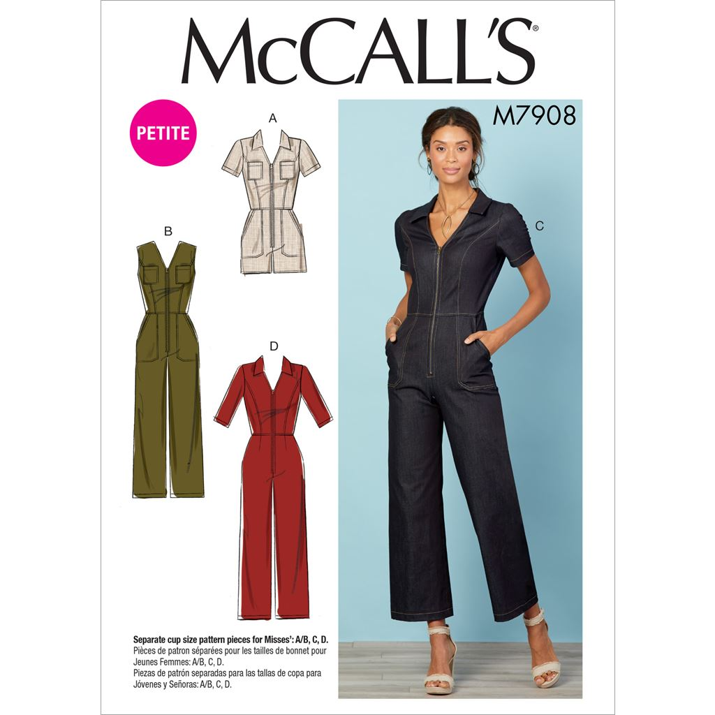 McCall's Pattern M7908 Misses Miss Petite Jumpsuits 7908 Image 1 From Patternsandplains.com
