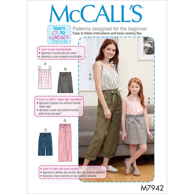 McCall's Pattern M7942 Misses Childrens and Girls Top Skirt Shorts and Pants 7942 Image 1 From Patternsandplains.com