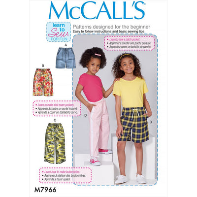 McCall's Pattern M7966 Childrens and Girls Shorts and Pants 7966 Image 1 From Patternsandplains.com