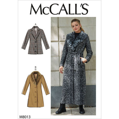 McCall's Pattern M8013 Misses Outerwear Detachable Fur Collar and Belt 8013 Image 1 From Patternsandplains.com