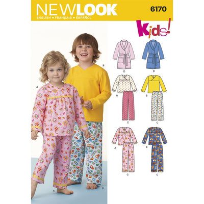 New Look Pattern 6170 Toddlers and Childs Pajamas Image 1 From Patternsandplains.com