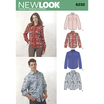 New Look Pattern 6232 Misses and Mens Button Down Shirt Image 1 From Patternsandplains.com