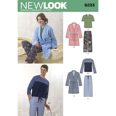 New Look Pattern 6233 Unisex Pants Robe and Knit Tops Image 1 From Patternsandplains.com