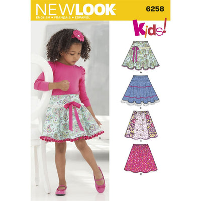 New Look Pattern 6258 Childs and Girls Circle Skirts Image 1 From Patternsandplains.com