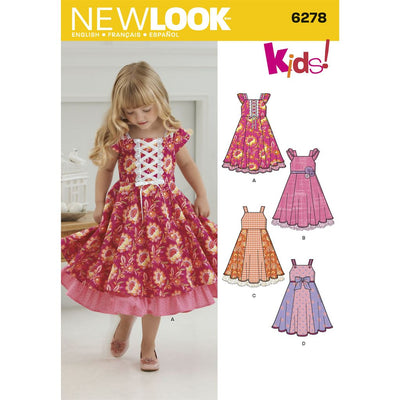 New Look Pattern 6278 Childs Dress with Trim Variations Image 1 From Patternsandplains.com