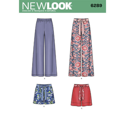 New Look Pattern 6289 Misses Pull on Pants or Shorts and Tie Belt Image 1 From Patternsandplains.com