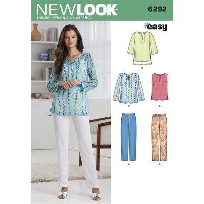 New Look Pattern 6292 Misses Tunic or Top and Pull on Pants Image 1 From Patternsandplains.com