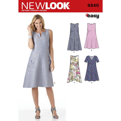 New Look Pattern 6340 Misses Easy Dresses Image 1 From Patternsandplains.com