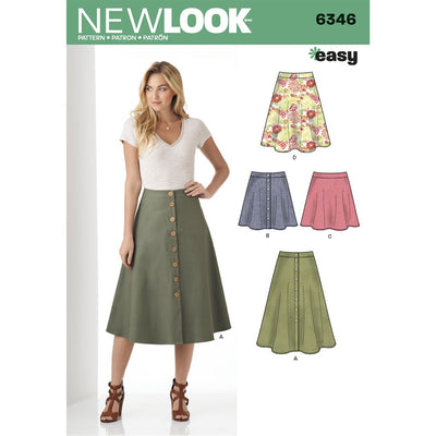 New Look Pattern 6346 Misses Easy Skirts in Three Lengths Image 1 From Patternsandplains.com