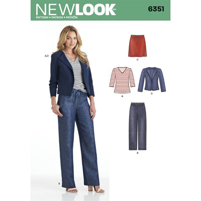 New Look Pattern 6351 Misses Jacket Pants Skirt and Knit Top Image 1 From Patternsandplains.com