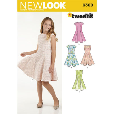 New Look Pattern 6360 Girls Sized for Tweens Dress Image 1 From Patternsandplains.com
