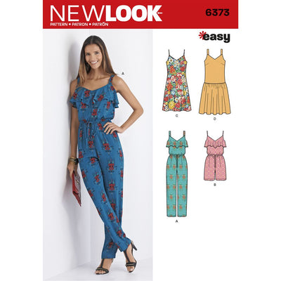 New Look Pattern 6373 Misses Jumpsuit or Romper and Dresses Image 1 From Patternsandplains.com