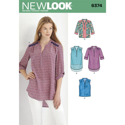New Look Pattern 6374 Misses Shirts with Sleeve and Length Options Image 1 From Patternsandplains.com