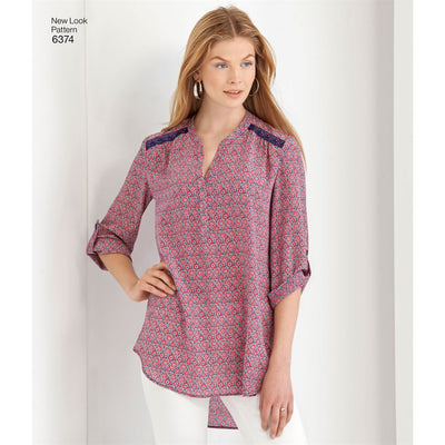 New Look Pattern 6374 Misses Shirts with Sleeve and Length Options Image 3 From Patternsandplains.com