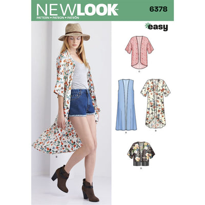 New Look Pattern 6378 Misses Easy Kimonos with Length Variations Image 1 From Patternsandplains.com