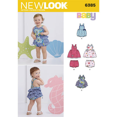 New Look Pattern 6385 Babies Dress Romper and Panties Image 1 From Patternsandplains.com