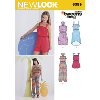 New Look Pattern 6389 Girls Easy Jumpsuit Romper and Dresses Image 1 From Patternsandplains.com