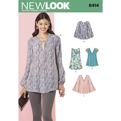New Look Pattern 6414 Misses Tunic and Top with Neckline Variations Image 1 From Patternsandplains.com