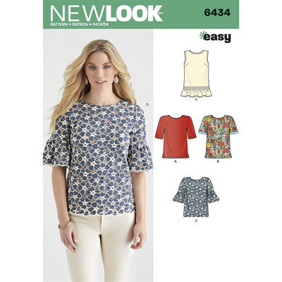 New Look Pattern 6434 Misses Tops with Fabric Variations Image 1 From Patternsandplains.com