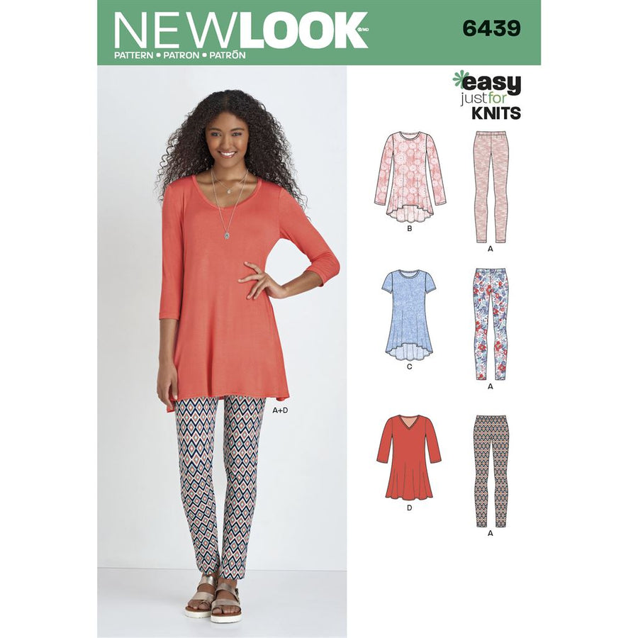 541556b286d350 New Look Pattern 6439 Misses Knit Tunics with Leggings Image 1 From  Patternsandplains.com