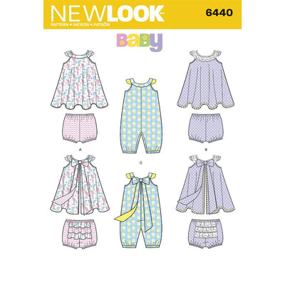 New Look Pattern 6440 Babies Romper and Sundress with Panties Image 1 From Patternsandplains.com