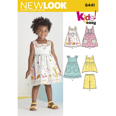 New Look Pattern 6441 Toddlers Easy Dresses Top and Cropped Pants Image 1 From Patternsandplains.com