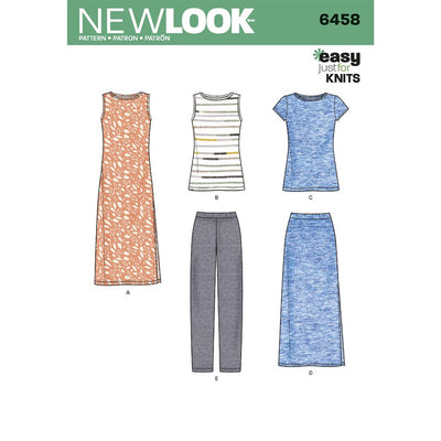 New Look Pattern 6458 Misses Easy Knit Separates Image 1 From Patternsandplains.com