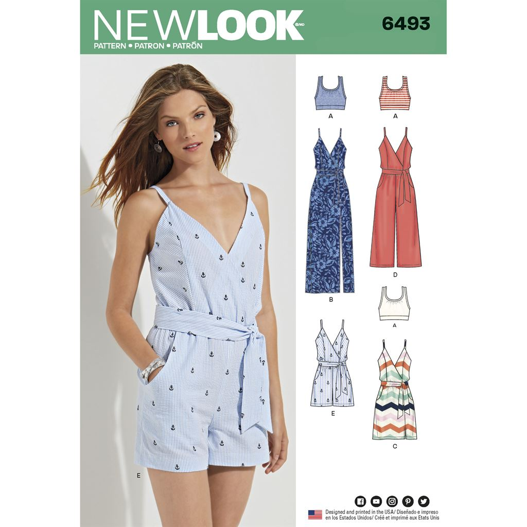 New Look Pattern 6493 Misses Jumpsuit and Dress in Two Lengths with Bralette Image 1 From Patternsandplains.com