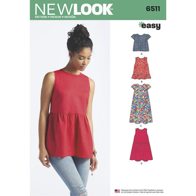 New Look Pattern 6511 Womens Tops With Length and Sleeve Variations Image 1 From Patternsandplains.com