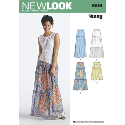 New Look Pattern 6516 Womens Skirts With Length and Fabric Variations Image 1 From Patternsandplains.com