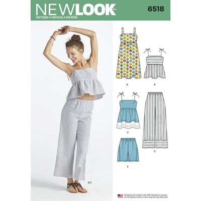 New Look Pattern 6518 Womens Dress Tops in Two Lengths Pants and Shorts Image 1 From Patternsandplains.com