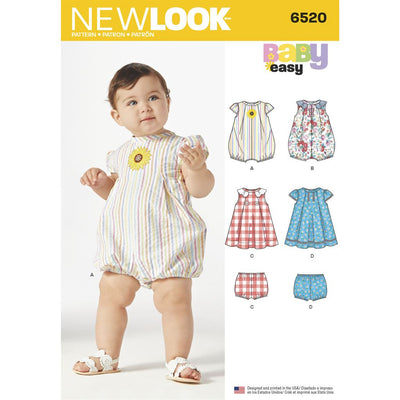 New Look Pattern 6520 Babies Romper and Dress with Panties Image 1 From Patternsandplains.com