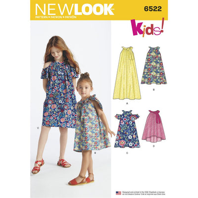 New Look Pattern 6522 Childs and Girls Dresses and Top Image 1 From Patternsandplains.com