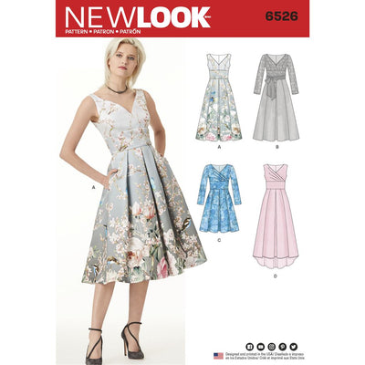 New Look Pattern 6526 Womens Dress With Bodice Variations Image 1 From Patternsandplains.com