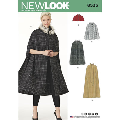 New Look Pattern 6535 Womens Capes in Four Lengths Image 1 From Patternsandplains.com