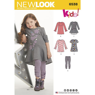 New Look Pattern 6538 Childs Knit Leggings and Dresses Image 1 From Patternsandplains.com