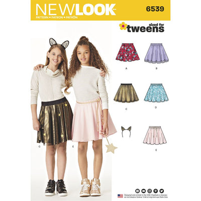 New Look Pattern 6539 Tween Skirts with Ears Headband Image 1 From Patternsandplains.com