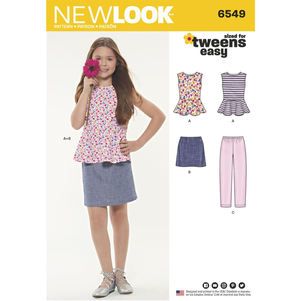 New Look Pattern 6549 Girls Top Skirt and Pants Image 1 From Patternsandplains.com