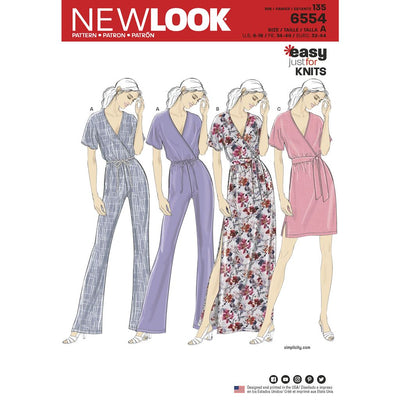 New Look Pattern 6554 Womens Knit Jumpsuit and Dresses Image 1 From Patternsandplains.com