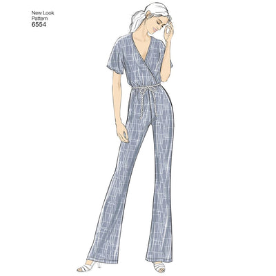 New Look Pattern 6554 Womens Knit Jumpsuit and Dresses Image 2 From Patternsandplains.com