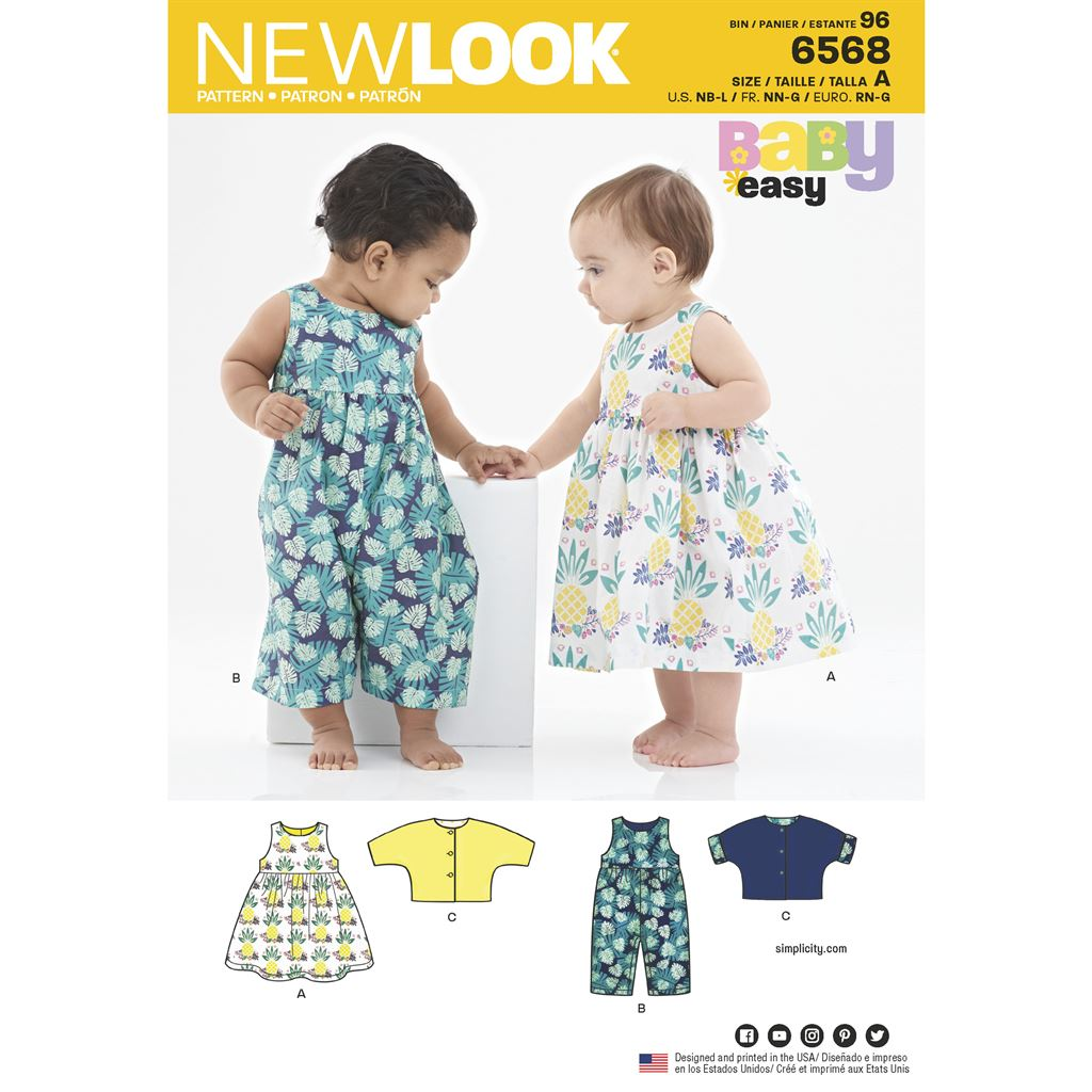 New Look Pattern 6568 Babies Dress Romper and Jacket Image 1 From Patternsandplains.com