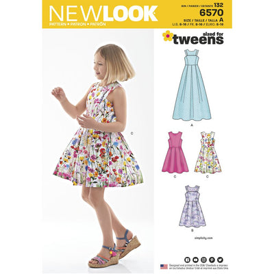 New Look Pattern 6570 Girls Dress in Two Lengths Image 1 From Patternsandplains.com