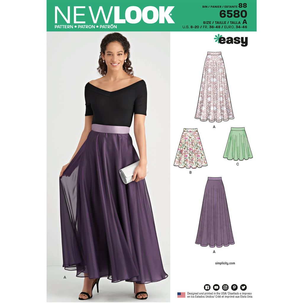 New Look Pattern 6580 Misses Circle Skirt Image 1 From Patternsandplains.com
