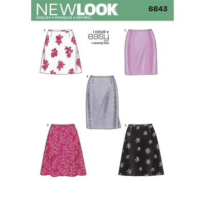 New Look Pattern 6843 Misses Skirts Image 1 From Patternsandplains.com