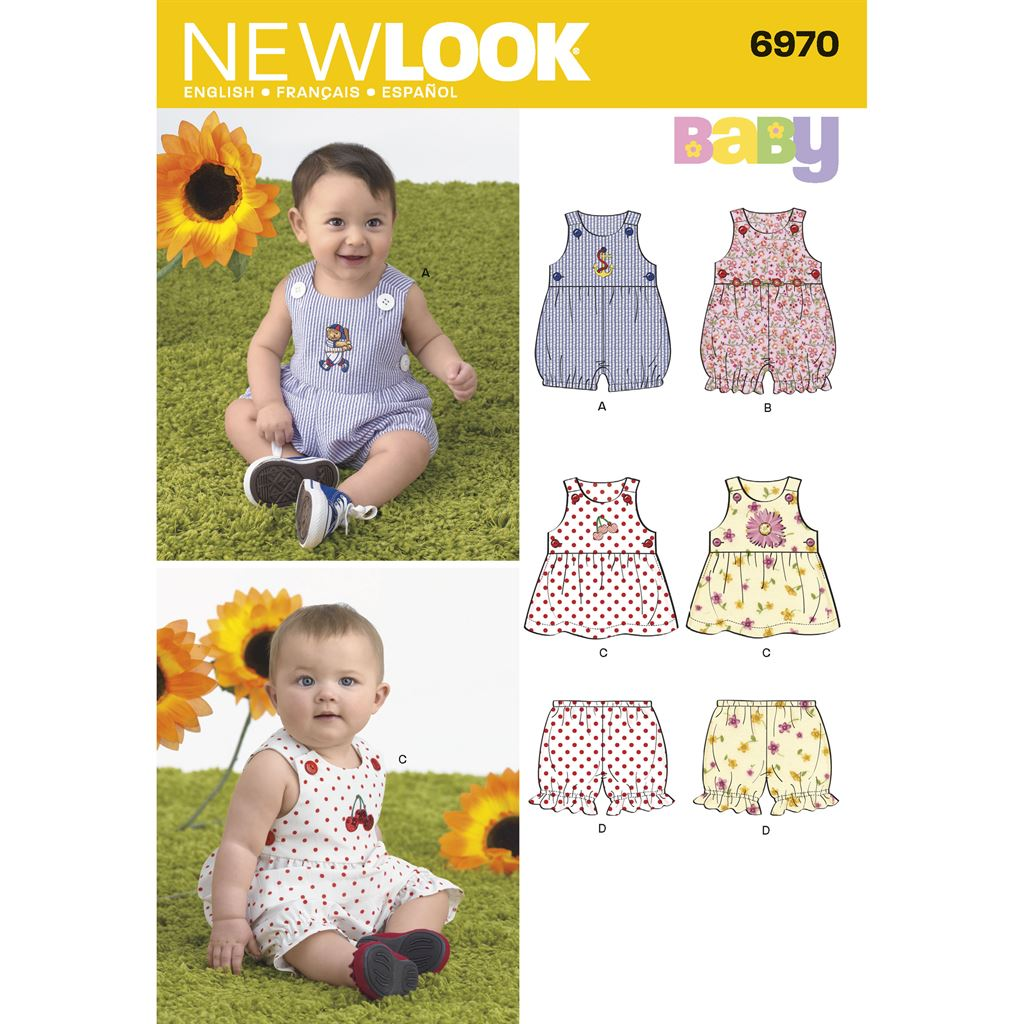 New Look Pattern 6970 Babies Romper Dress and Panties Image 1 From Patternsandplains.com
