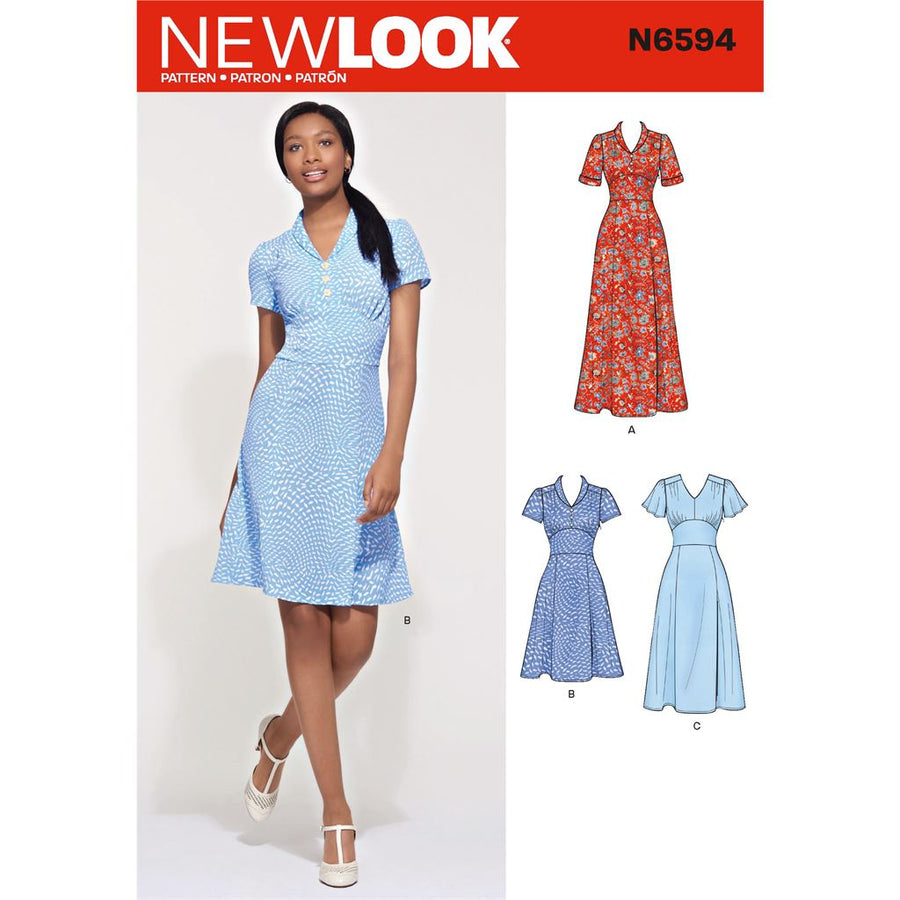 d92ce5e9284 New Look Sewing Pattern N6594 Misses Dress In Three Lengths 6594 Image 1  From Patternsandplains.