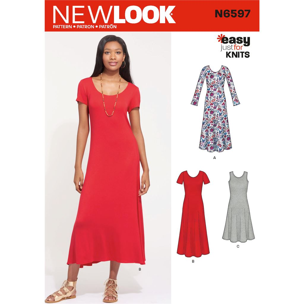 New Look Sewing Pattern N6597 Misses Knit Dress 6597 Image 1 From Patternsandplains.com