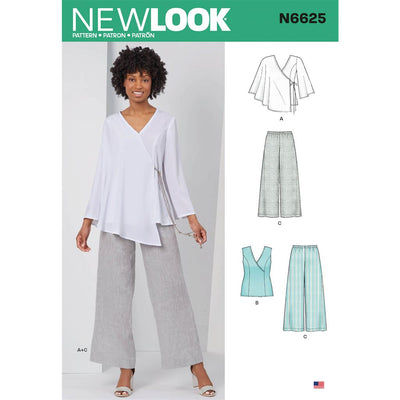 New Look Sewing Pattern N6625 Misses Tops And Pull On Pants 6625 Image 1 From Patternsandplains.com