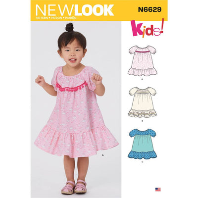 New Look Sewing Pattern N6629 Toddlers Dresses 6629 Image 1 From Patternsandplains.com
