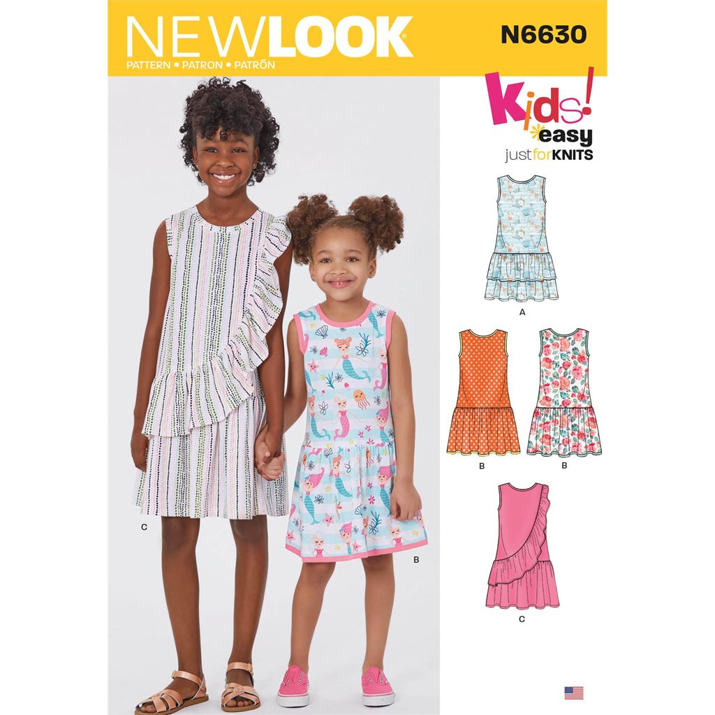 New Look Sewing Pattern N6630 Childrens And Girls Dresses 6630 Image 1 From Patternsandplains.com